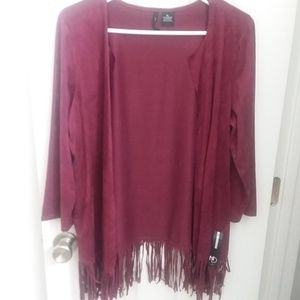 New Directions pomegranate suede fringed cardigan